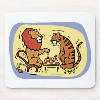 Lion and Tiger Playing Chess Mouse Pad