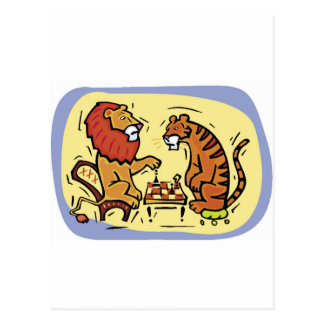 Lion and Tiger Playing Chess Postcard