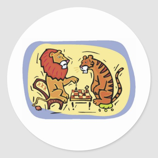 Lion and Tiger Playing Chess Round Sticker