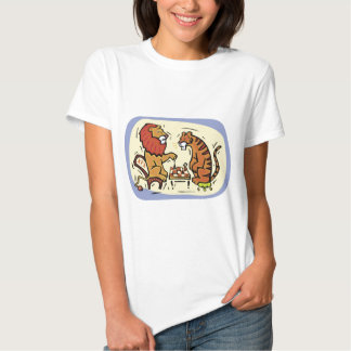 Lion and Tiger Playing Chess T-shirt