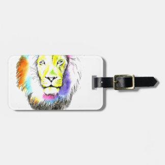 lion art luggage tag