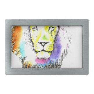 lion art rectangular belt buckle
