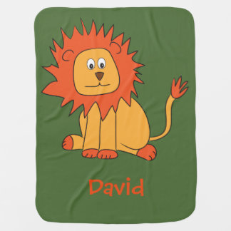 Lion baby Blanket with Customizable Name