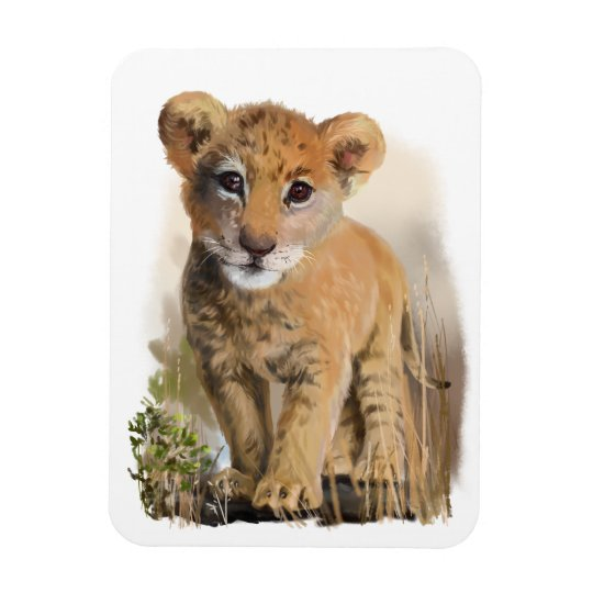 Lion baby rectangular photo magnet