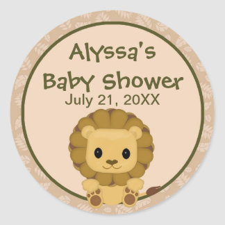 LION Baby Shower blank label/seal Nali NJL #04C Classic Round Sticker