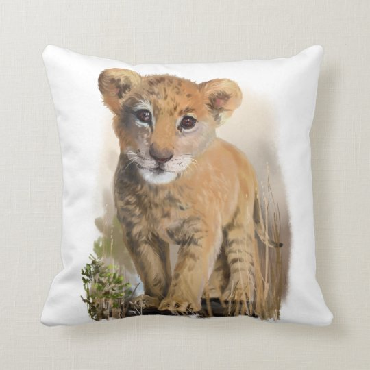 Lion baby throw pillow