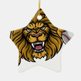 Lion Baseball Ball Sports Mascot Christmas Ornament