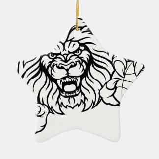 Lion Basketball Ball Sports Mascot Christmas Ornament