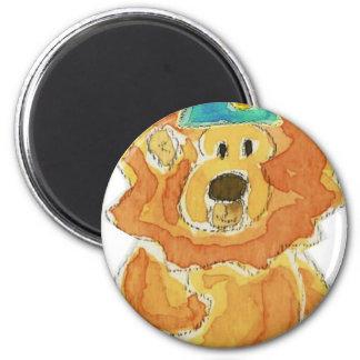 Lion Birthday Hat 6 Cm Round Magnet