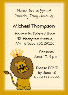 Crown and lions cards invitations zazzle lion birthday invitations filmwisefo