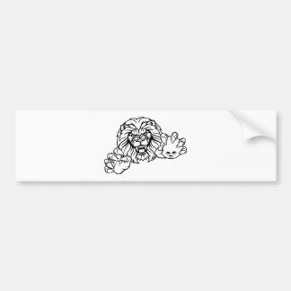 Lion Bowling Ball Sports Mascot Bumper Sticker