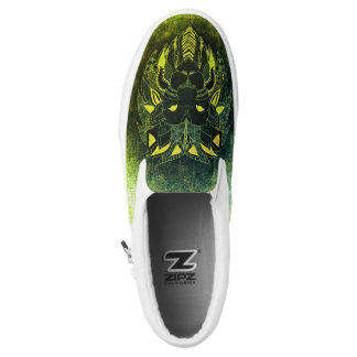 Lion Cat Patchwork Abstract Green Slip On Sneaker Printed Shoes