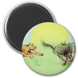 Lion Chasing Buffalo in the Wild  Round Magnet