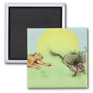 Lion Chasing Buffalo in the Wild Square Magnet