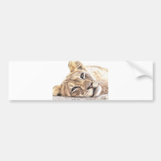 Lion child - Tired Young Lion Bumper Sticker