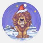 Lion Christmas Round Sticker