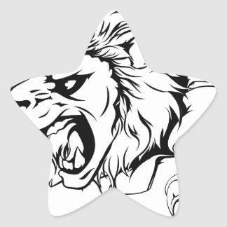 Lion clawing through wall star sticker