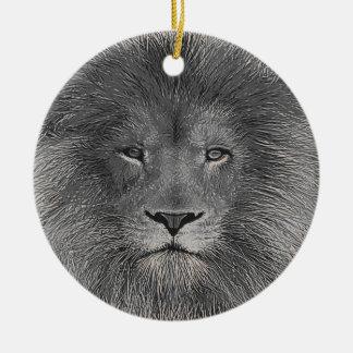 Lion Close Up Round Ceramic Decoration