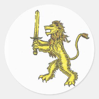 lion crest colored round sticker