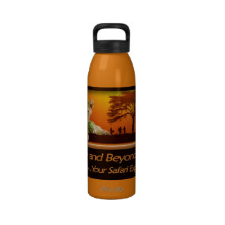 Lion cub & African safari sunset Water Bottle