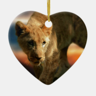 Lion Cub Ceramic Heart Decoration