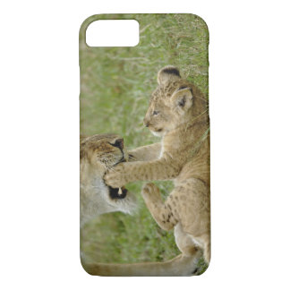 Lion cub playing with female lion, Masai Mara iPhone 8/7 Case
