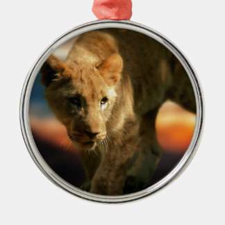 Lion Cub Silver-Colored Round Decoration