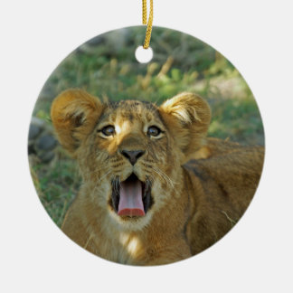 Lion Cub Yawn Christmas Ornament
