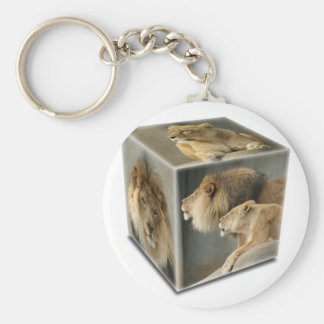 LION CUBE -  A Male, A FEMALE,  & A COUPLE Basic Round Button Key Ring