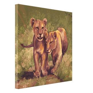 Lion Cubs Stretched Canvas Print