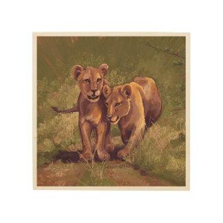 Lion Cubs Wood Canvas