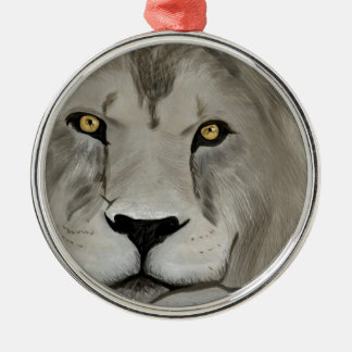Lion Digital Painting Silver-Colored Round Decoration