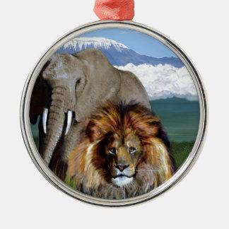 LION ELEPHANT Silver-Colored ROUND DECORATION