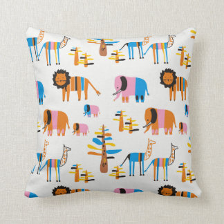 Lion, elephant with baby elephants cushion