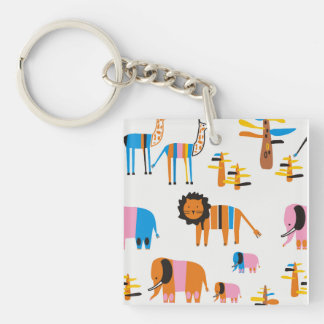 Lion, elephant with  giraffe and trees in white key ring