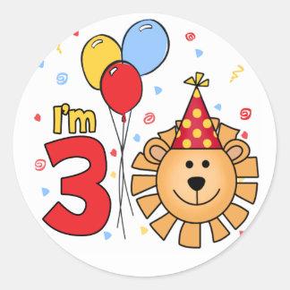 Lion Face 3rd Birthday Round Stickers