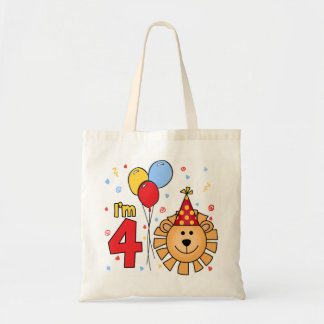 Lion Face 4th Birthday Budget Tote Bag