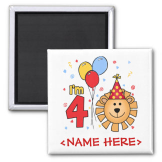 Lion Face  4th Birthday Refrigerator Magnet
