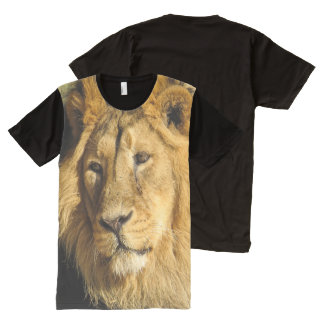 Lion Face Head Wildlife Cat Animal All-Over Print T-Shirt