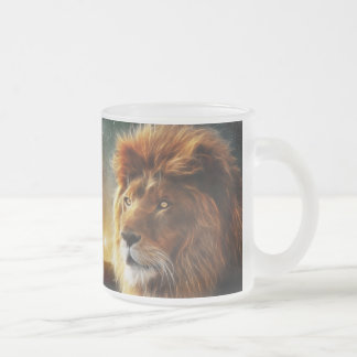 Lion face .King of beasts abstraction Frosted Glass Mug