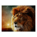 Lion face .King of beasts abstraction Poster