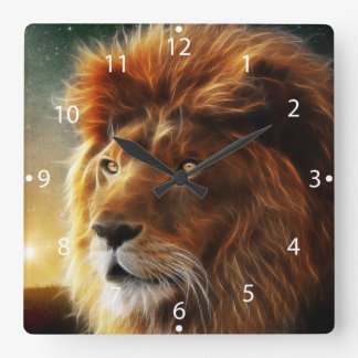 Lion face .King of beasts abstraction Square Wall Clock