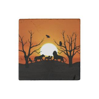 Lion family at sunset stone magnet