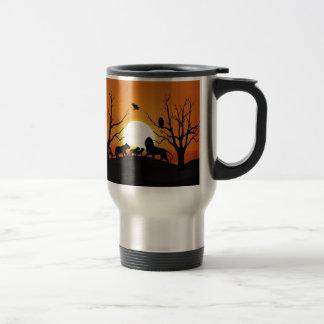 Lion family at sunset travel mug