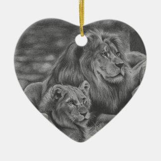 Lion family ceramic heart decoration