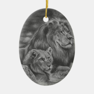 Lion family ceramic oval decoration