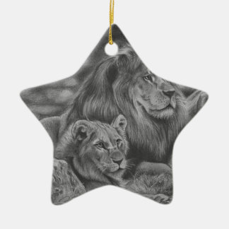 Lion family ceramic star decoration