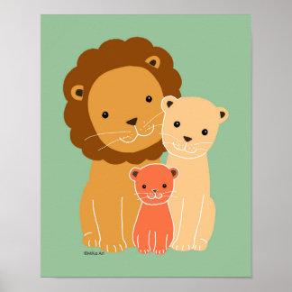 Lion Family Nursery Poster Cute Lion Nursery Print