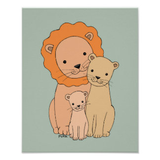 Lion Family Poster Lion Nursery Art Lion print