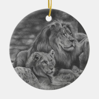 Lion family round ceramic decoration